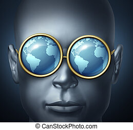 Global vision and world investor business symbol with a businessman icon wearing eye glasses with the reflection of the planet as a concept of international leadership and vision for future investing oportunities.