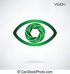 global vision sign, eye icon, search symbol