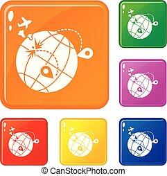 Global war migration icons set vector color