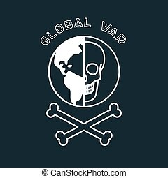 Global War Poster - Dark war poster with skull and the...