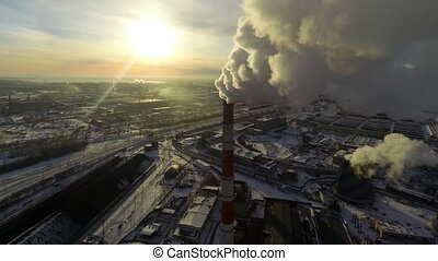 Global Warming. Aerial. - Carbon Dioxide Causing Global...