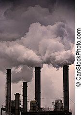Global Warming - Air Pollution - Fumes coming out of factory...