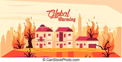 global warming alert with forest fire