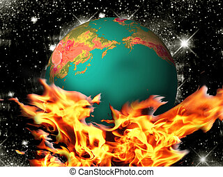 Global warming - An illustration shows a threat of global ...