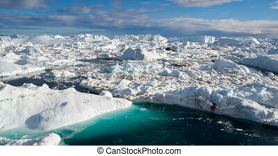 Global Warming and Climate Change - Icebergs from melting glacier in icefjord