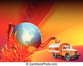 Global warming and climate change illustration