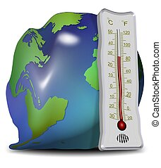 global warming and melting - Earth globe and thermometer ...