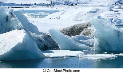 Global warming at a glacier lagoon - Global warming at the...