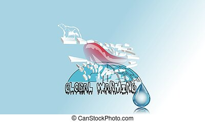 global warming. bear on polar ise and water drop
