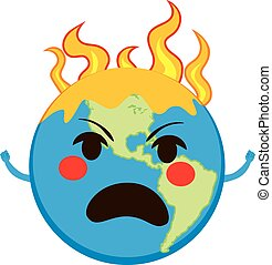Global Warming Character - Angry Earth planet in flames...