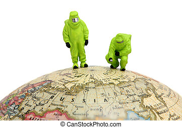 Global warming concept - Concept image of two miniature...
