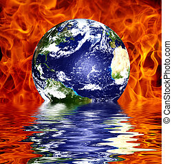 Global warming concept Earth over fire