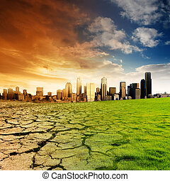 Global Warming Concept - Effect of Global Warming on a city