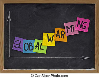 global warming concept on blackboard