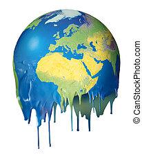 Global warming concept planet melting - Melting planet...