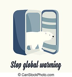 Global warming concept poster with polar bear
