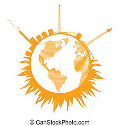 Global warming concept with globe refinery smoke vector...