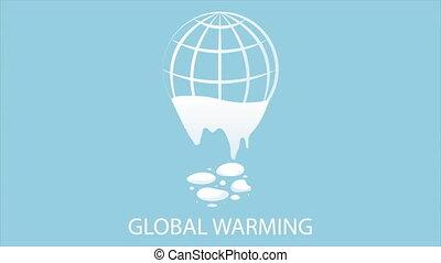 Global warming earth logo, art video illustration.