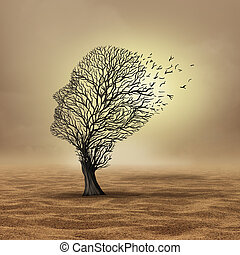 Global warming effect and estreme weather change resulting in drought and environmental damage as a dead tree in a barren desert in a 3D illustration style.