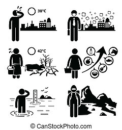 A set of human pictogram representing global warming and greenhouse effects on Earth environment. This includes rising temperature, haze, drought, rising food prices, rising sea level, and melting glacier.