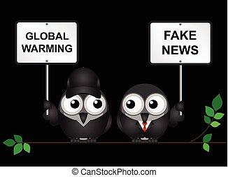 Global Warming - Protestor demonstrating against global...