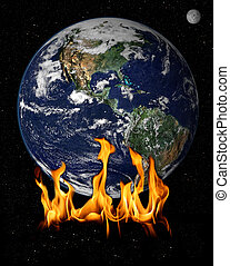 Flames over earch concept of global warming
