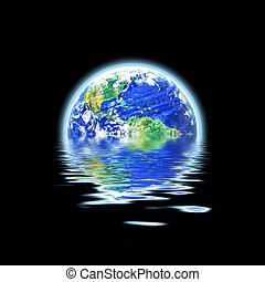Global Warming Flooded Earth Illustration - The earth...