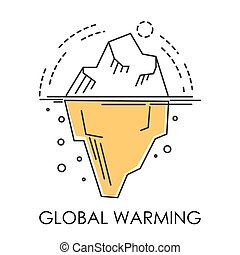 Global warming, glacier melting isolated icon, natural...