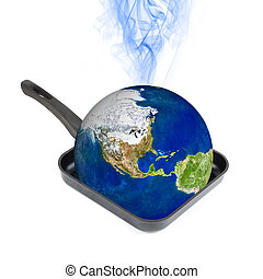 Global Warming - Global warming concept. Earth at the frying...