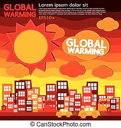 Global Warming. - Global warming illustration vector...