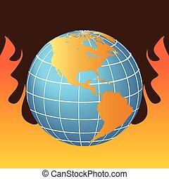 Global Warming - Globe in flames representing global warming