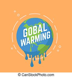 Global warming, Graphic illustration of a melting earth.