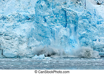 Global warming - Ice falling from glacier in Alaska...