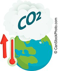 Global warming icon. Isometric illustration of global warming vector icon for web