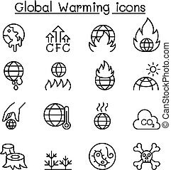 Global Warming icon set in thin line style
