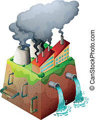 Global warming - Illustration of a factory bulding on a...