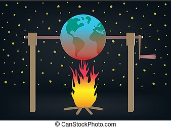 Global warming illustration Planet earth roasting over fire