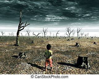 Global Warming Illustration with a little girl looking at a...