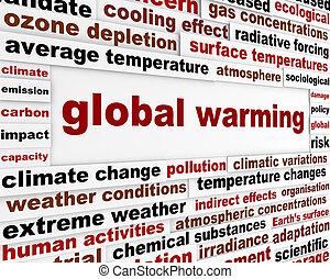 global warming, meddelelse, begreb