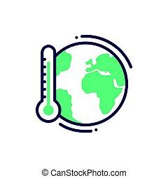 Global warming - modern vector single line icon