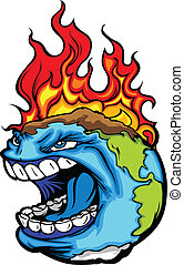 Cartoon Vector Image of a Screaming Planet Earth with Flames experiencing Global Warming Environmental Disaster