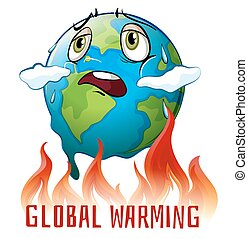 Global warming poster with earth on fire