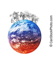 global warming - planet earth heating from the bottom to the...