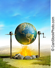 Global warming - Earth cooked on a campfire as a metaphor of...