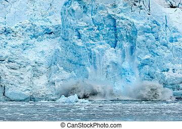 Global warming - Ice falling from glacier in Alaska...