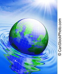 Global warming - Globe in the water . Conceptual 3D...