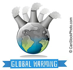 Global warming theme with earth and factory