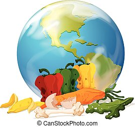 Global warming theme with earth and rotten food