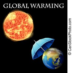 Global warming theme with earth and umbrella