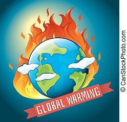 Global warming theme with earth on fire illustration